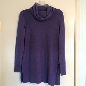 Adrienne Vittadini cowl neck purple tunic sweater